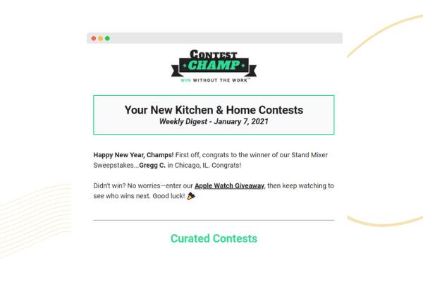Screenshot of free sample email