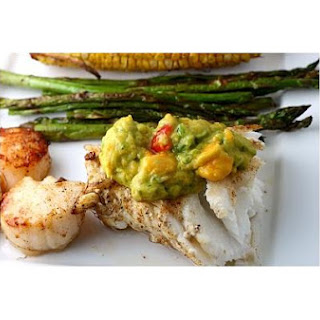 Sea Bass and Scallop Grill With Mango Guacamole