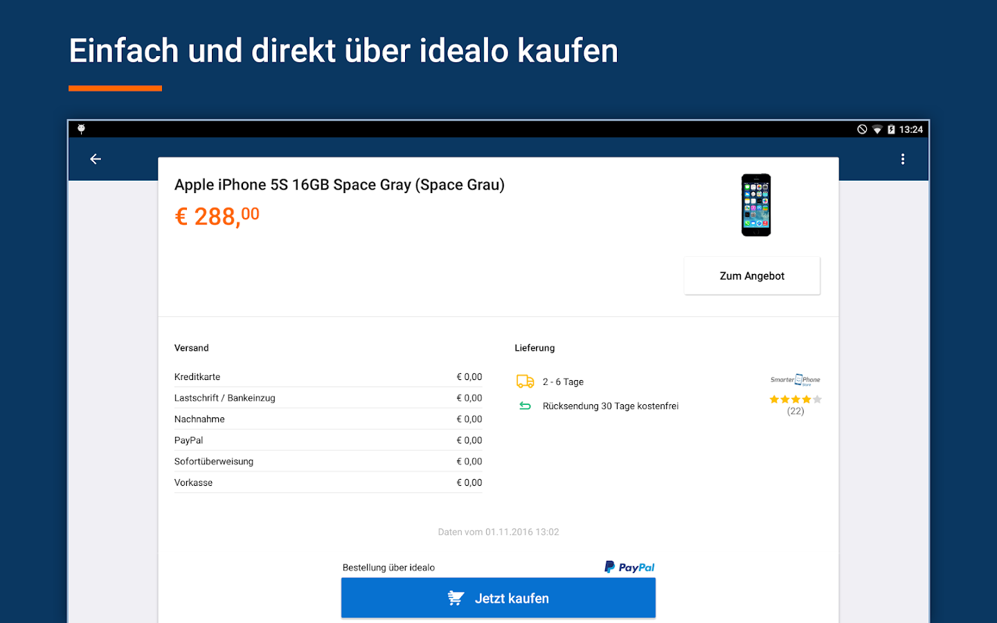 idealo Preisvergleich Shopping – Screenshot