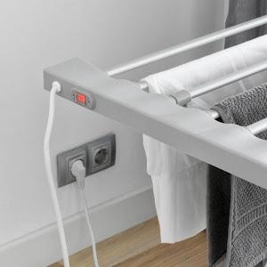 Uscator electric pentru haine, 8 bare, pliabil, gri, 120 W