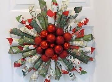 Make From Christmas Wring Paper And Small Ornaments Pic Is Pretty Much Self Explanatory I Would Think There A Cardboard Circle Behind To Glue