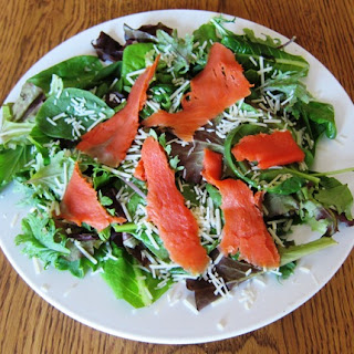 Green Salad with Smoked Salmon and Parmesan Cheese Recipe