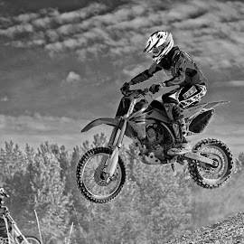Getting Some Air - BW by Twin Wranglers Baker - Black & White Sports
