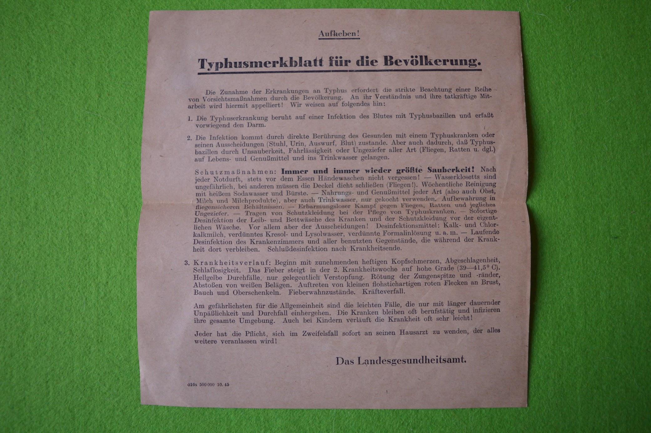 Nachkriegskrankheiten - heute Typhus