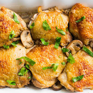 Chicken Thighs with Mushrooms and Shallots.