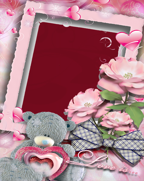 Love Red Flower Frame For Powerpoint Templates