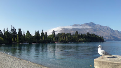 Photo: I am looking at the Queenstown Gardens from the shore of the town.