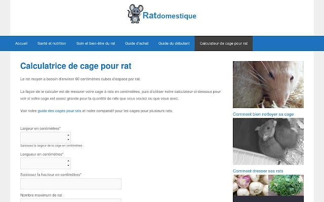 Calculateur de cage à rat