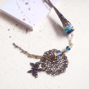 燒玻璃流蘇髮簪(藍)