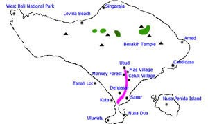 Afternoon ubud tour map