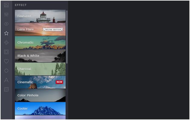 Befunky one-click effect menu