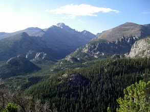 Photo: Longs Peak and Glacier Gorge in its shadow. Thatchtop is on the right.