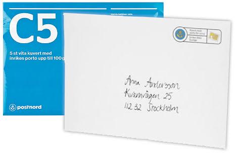 Kuvert med porto 5/fp