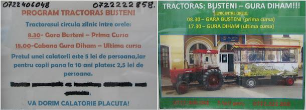 Photo: Transport (cu tractorul / tractorasul): Gara Busteni - Gura Diham Programul e neclar: la cat e ultima cursa de la Gura Diham: 17:30 sau 18:00? Precizare: cele 2 afise erau lipite la distanta de 50 cm unul de altul... :)  Parerea mea: ultima cursa ar trebui sa fie la 18:30, pentru cei care tintesc trenurile de 19:17 si 19:42  Blog post: http://l.blog.iacob.name/2016/07/traseu-bucegi-azuga-saua-grecului-baiului-gura-diham-busteni.html