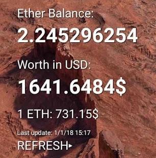 Ether Wallet Widget - náhled