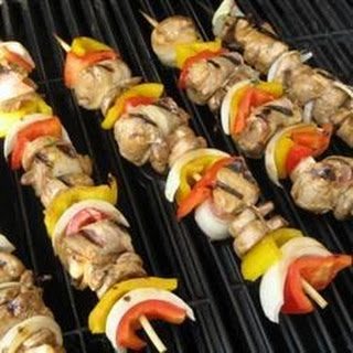 Chicken and Bacon Shish Kabobs.