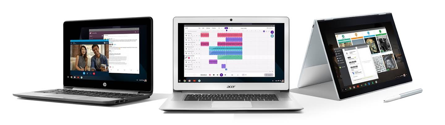 Una selección de tres Chromebooks muestra las apps de alta calidad disponibles para la educación, que incluyen Hangouts Meet, edición de video con WeVideo y excursiones en realidad virtual con Expediciones.