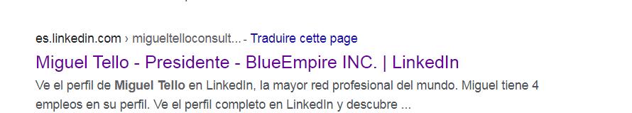 Recherche Google avec Miguel Tello comme président de BlueEmpire