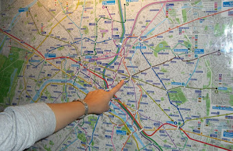 Photo: A map of the Paris Metro rail system...eek.  We are there.