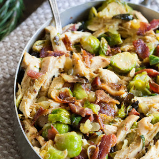 Creamy Chicken Brussels Sprouts and Bacon {Paleo, Whole30}.