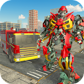Real Robot Firefighter Truck Transform Robot Game