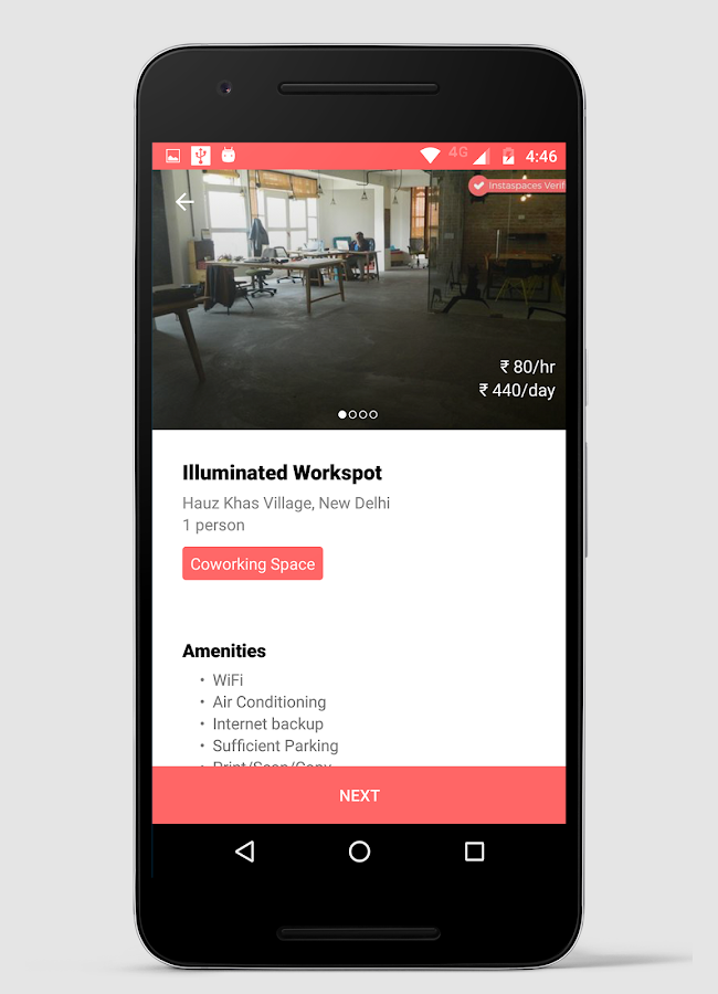 InstaSpaces: Book Workspaces- screenshot