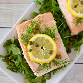 Simple Lemon Dill Baked Salmon with Caper Aioli.