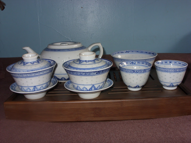 Photo: My entire rice pattern collection The cups are from Ebay. The teapot and bowl came from a thrift store and the gaiwans were purchased on Amazon.