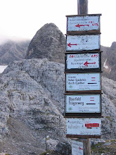 Photo: Upper Dachsteins (above Halstatt). Trails are darn confusing up here, especially in the clouds.