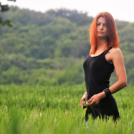 Katy by Slaven Bandur - People Portraits of Women ( spring, dress, red hair, field, beauty, nature, daylight, black, wheat, girl, portrait, trees )