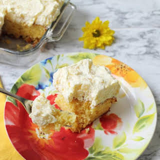 Mandarin Orange Cake with Whipped Pineapple Frosting.