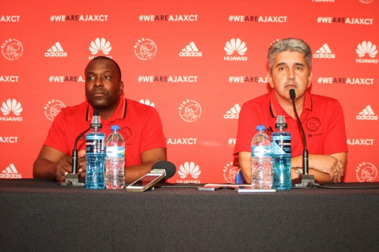 L-R) Stanley Menzo (head coach) and Ari Efstathiou (CEO) during the Ajax Cape Town announcement of new coach at Ikamva on October 28, 2016 in Cape Town.