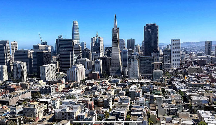 View of the Financial District skyline from the top of Coit Tower.