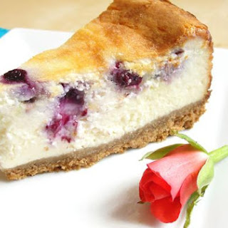 Eggless Blueberry and White Chocolate Baked Cheesecake.