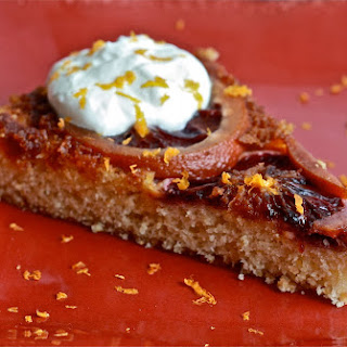 Blood Orange Polenta Upside Down Cake with Whipped Creme Fraiche