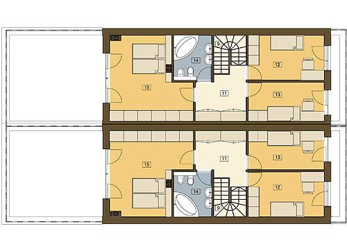 Long z garażem 1-st. bliźniak A-BL2 - Rzut piętra