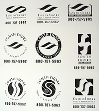 Photo: Typical example of giving a client a variety of logo choices at the early stages of design.