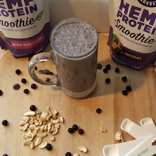 Berry Chocolate Cashew Smoothie with Manitoba Harvest Hemp Protein.
