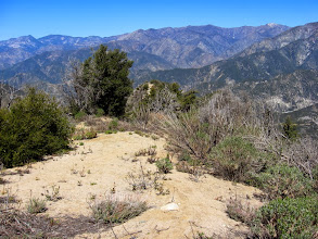 Photo: View northwest down my ridge route. I suspect this firebreak was cut during the 2002 Williams Fire. Hawkins Ridge through Throop Peak in is the middle horizon and snow-capped Mt. Baden-Powell is on the far right.