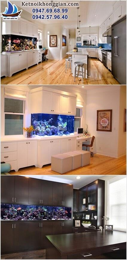 trang trí nhà bếp bằng bể cá