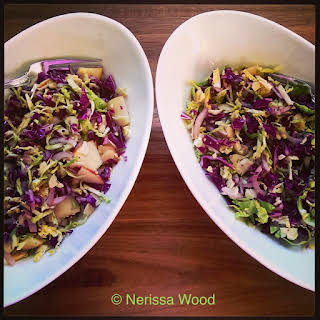 Winter Salad of Shaved Brussel Sprouts & Red Cabbage.