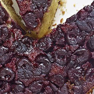 Upside-down Cherry-rose Cake With Clotted Cream.