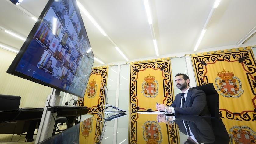 Ramón Fernández-Pacheco durante una videoconferencia