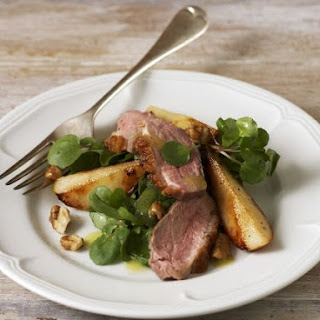 Sliced Duck and Pear Salad.