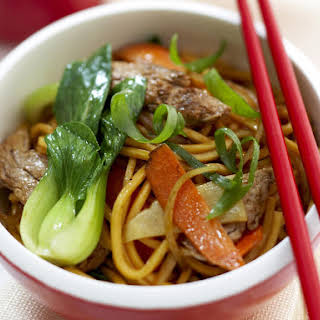 Stir Fried Noodles with Pork and Bok Choy.
