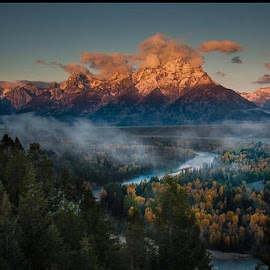 Autumn Grandeur Grand Tetons - misty morning fog at first light  by Clement Stevens - Landscapes Mountains & Hills ( mountain, snake river, tetons, snow, fog )