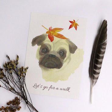 #dog #animal #lovelyanimal #postcard #feather #angel #fallingleavesstudio #birthdaycard