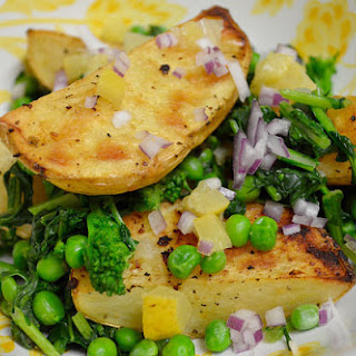 Roasted Potatoes With Rapini And Preserved Lemon.