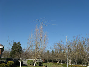 Photo: View for first tower and windom antenna from front yard.