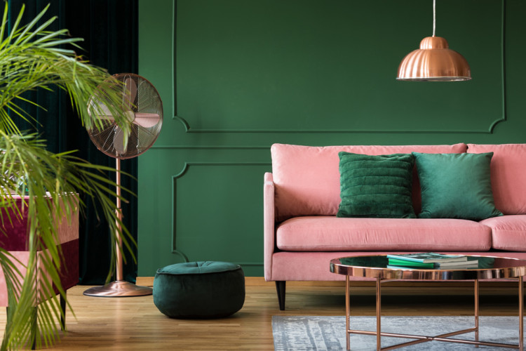 The Origins, History, and Design Power of the Color Copper in 2020 | Green interior  design, Dark green living room, Living room green